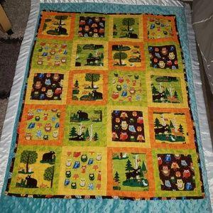 Owl woodland quilt blanket